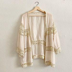 Anthropologie Evelyn K. Cream Crochet Cardigan